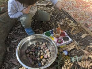 bush playgroup blaxland preschool kindergarten little boy painting gumnuts
