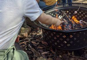 bush playgroup blaxland preschool kindergarten roasting marshmallows over a fire