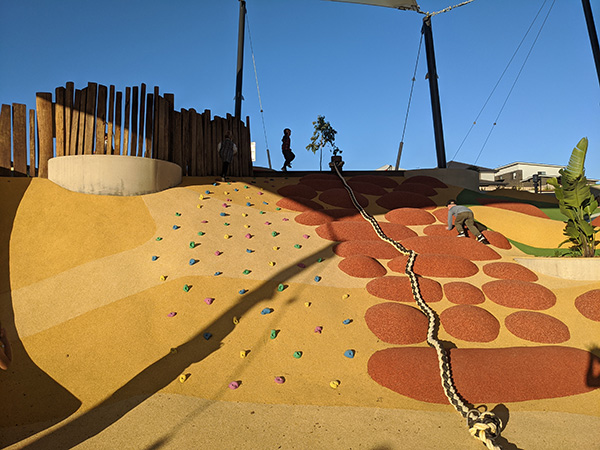 Linear Park Mulgioa Rise, new playground for kids in Western Sydney, rock climbing wall, kids climbing to the top