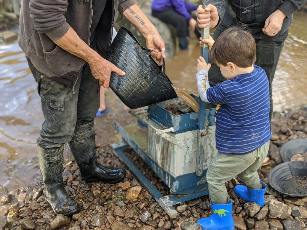 Sofala gold panning, near Bathurst, kids using an old rocker box