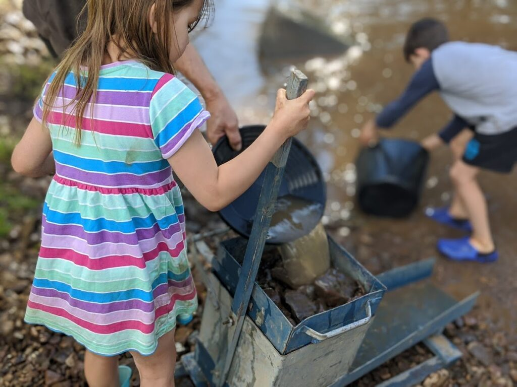 kids using a rocker box, Sofala gold panning, near Bathurst