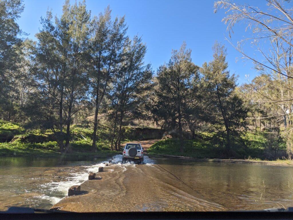 Sofala gold panning, near Bathurst, river crossing, 4WD'ing