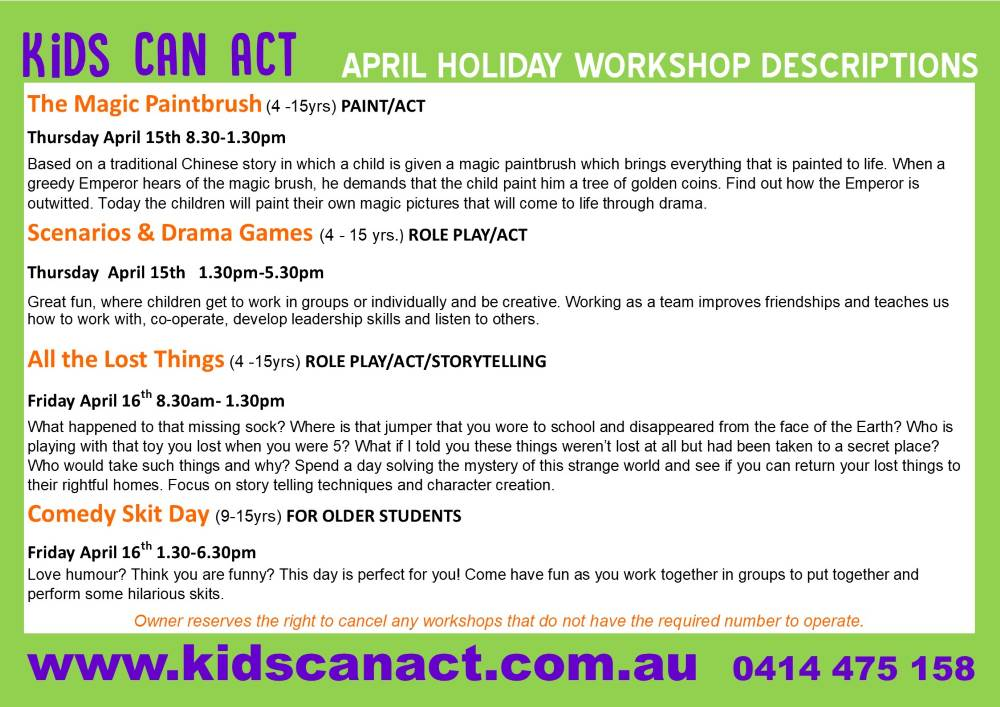 kids can act drama classes blue mountains