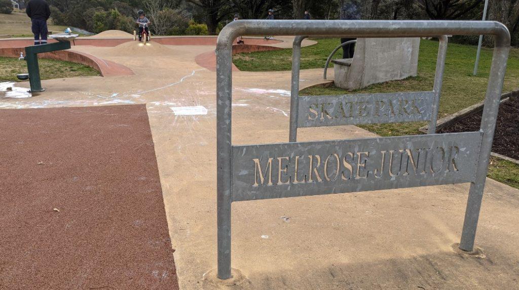 melrose junior skate park north katoomba sign