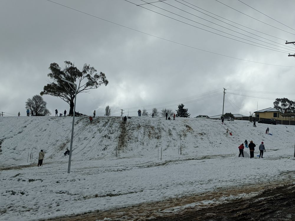 tobogganing in the snow in oberon, blue mountains
