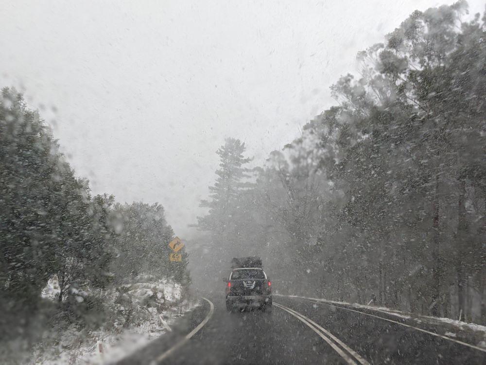 road safety in the snow, blackheath, oberon, blue mountains