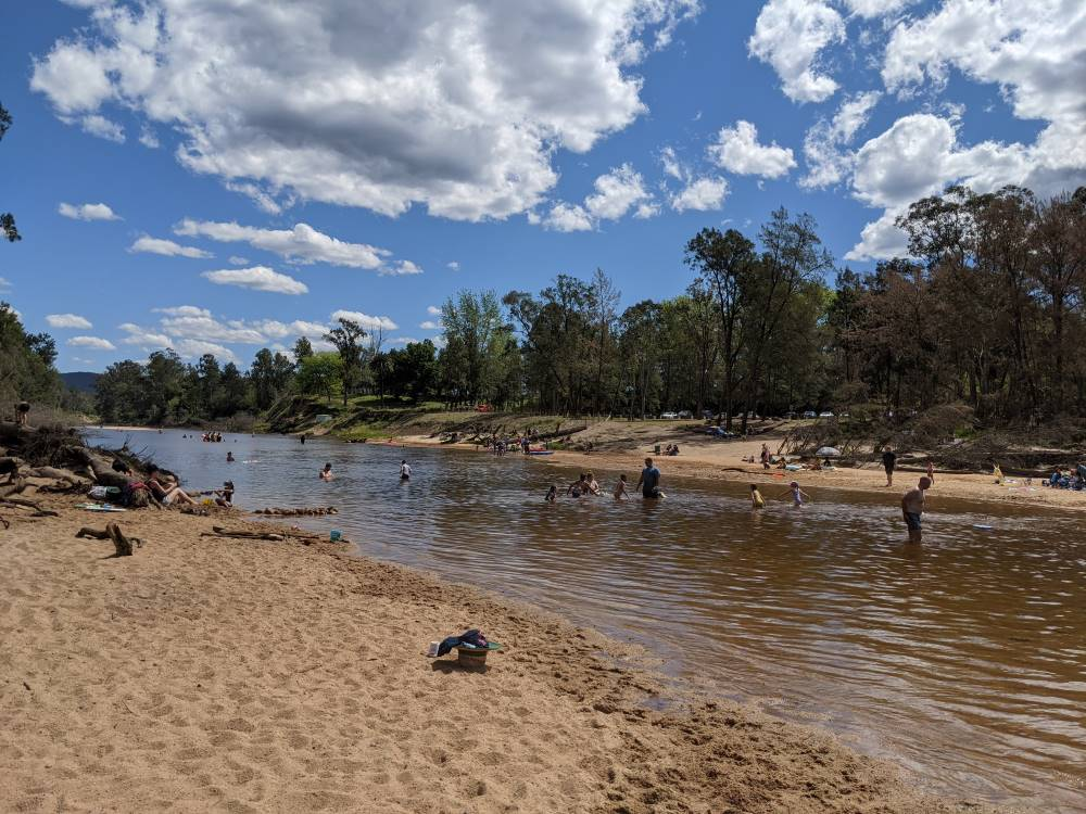 Yarramundi Reserve on a sunny day - water play