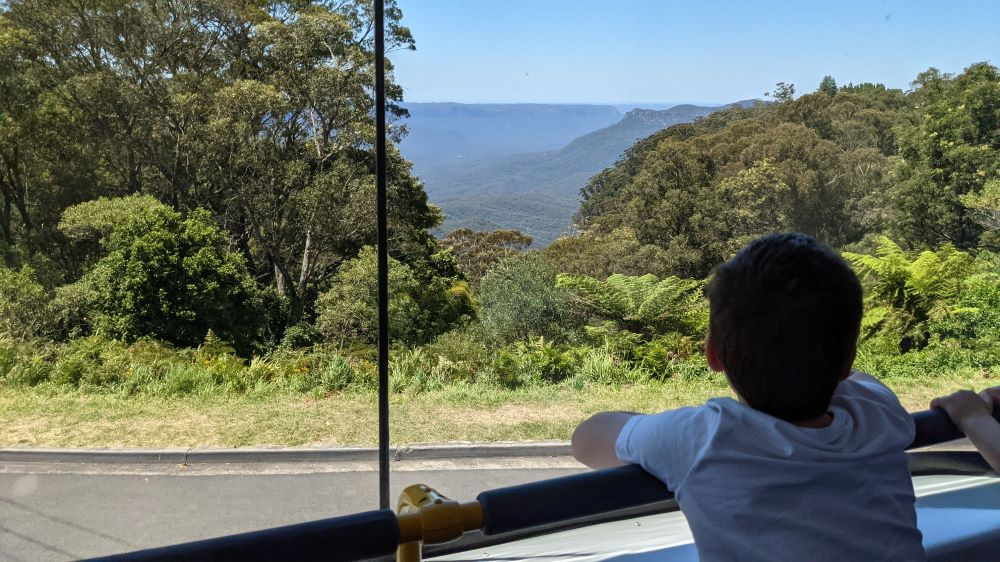 enjoying the view from the top of the blue mountains explorer bus