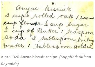 anzac biscuits pre-1920s recipe
