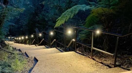 Katooomba Falls Reserve Night Lit Walk stairs