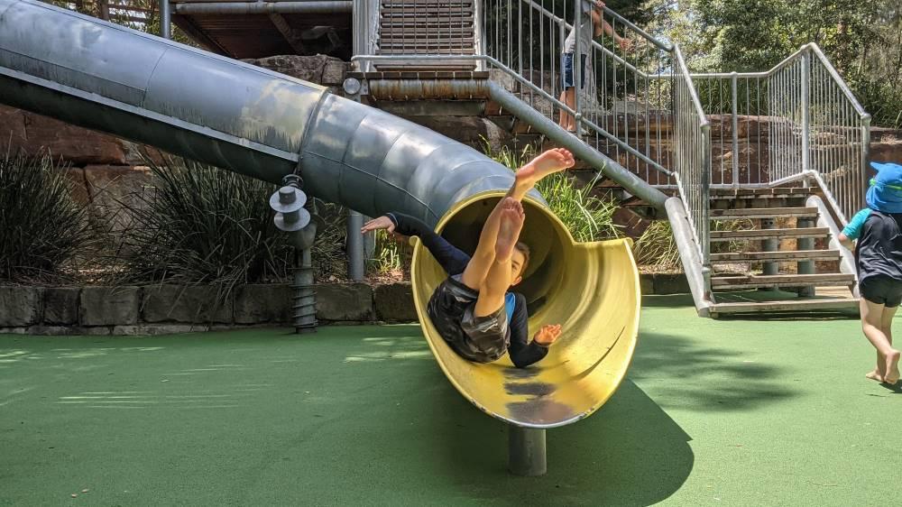 Putney Park boy on the slide