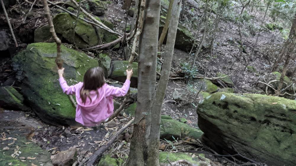 Victory Track Faulconbridge girl on a tree root swing
